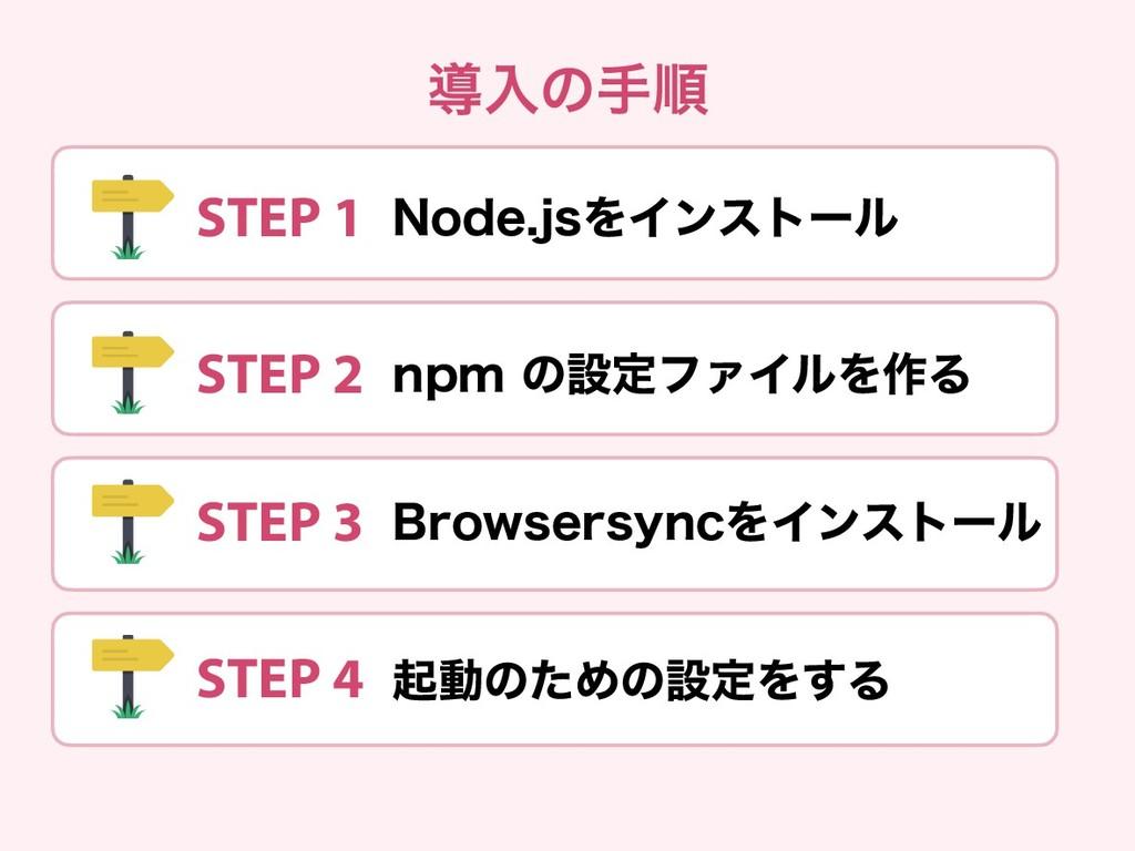 導入の手順 STEP 1 Node.jsをインストール STEP 2 npm の設定ファイルを...