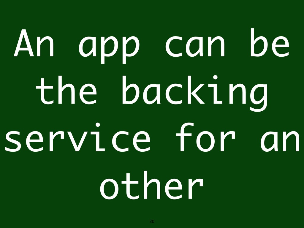 30 An app can be the backing service for an oth...