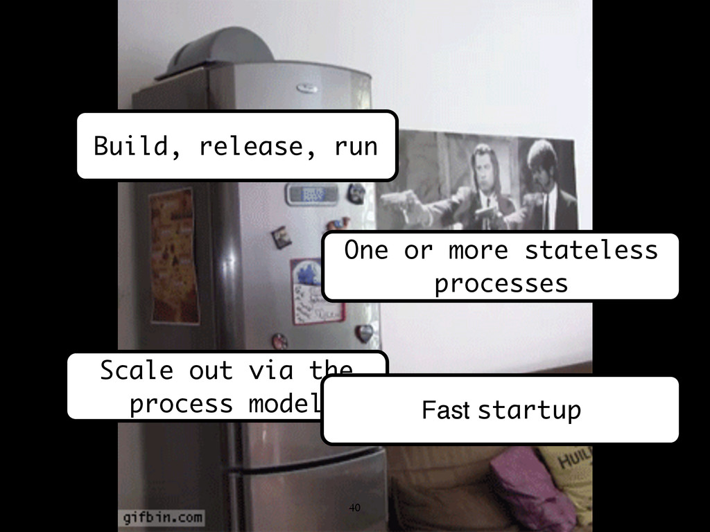 40 Build, release, run One or more stateless pr...