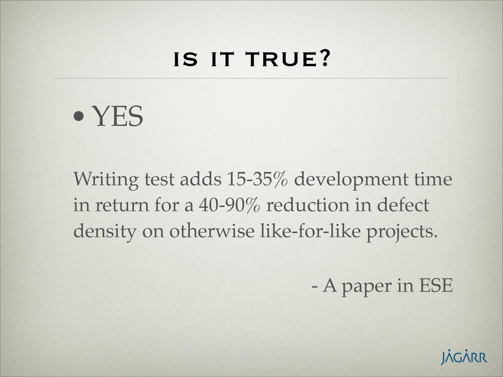 is it true? Writing test adds 15-35% developmen...