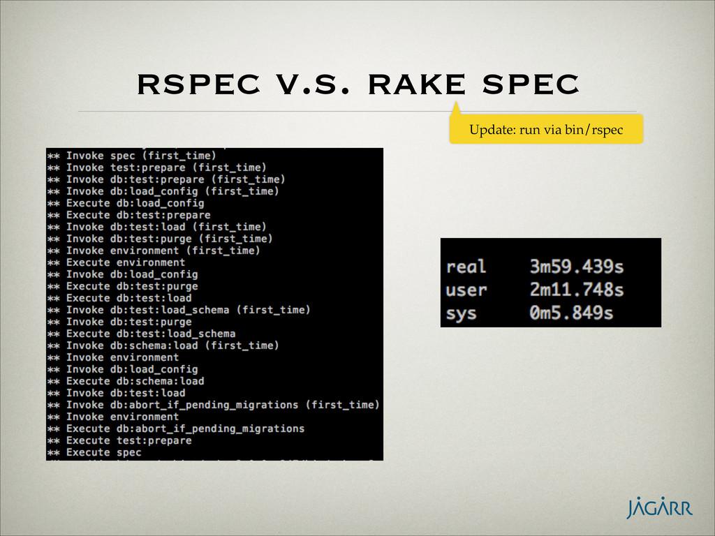 rspec v.s. rake spec Update: run via bin/rspec