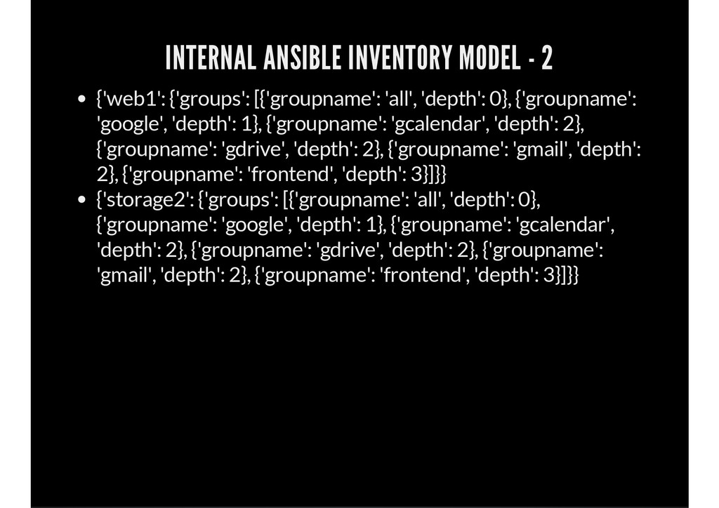 INTERNAL ANSIBLE INVENTORY MODEL - 2 {'web1': {...