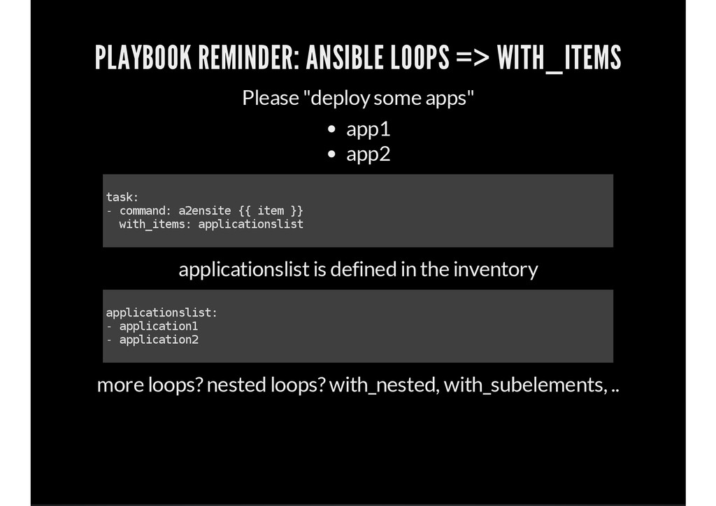 PLAYBOOK REMINDER: ANSIBLE LOOPS => WITH_ITEMS ...