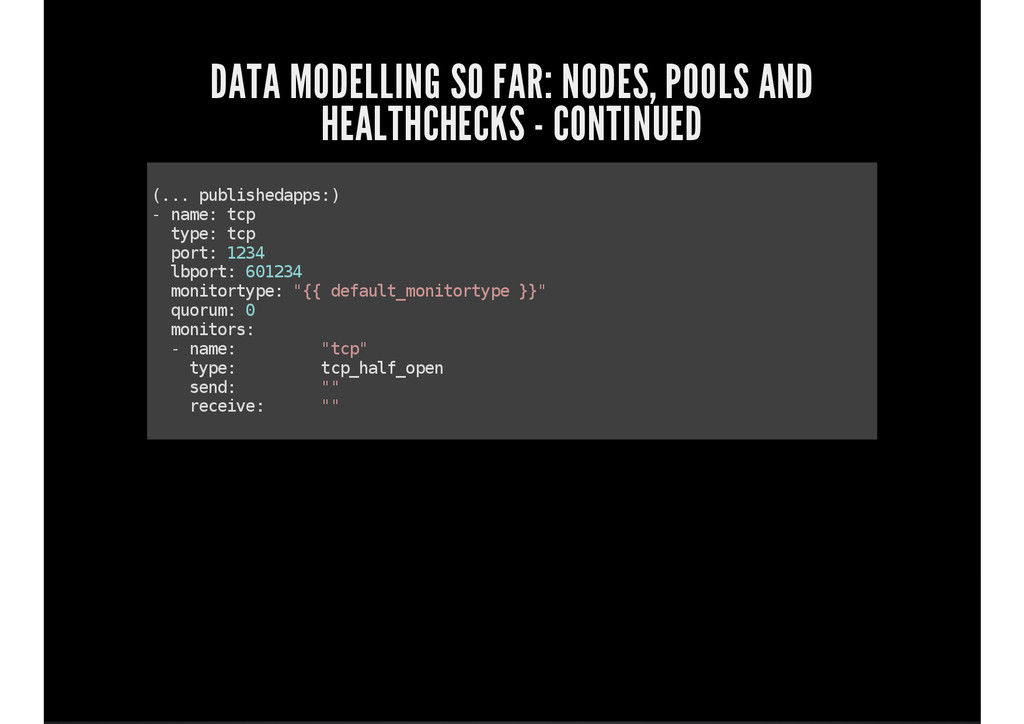 DATA MODELLING SO FAR: NODES, POOLS AND HEALTHC...