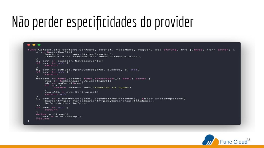 Não perder especificidades do provider 18