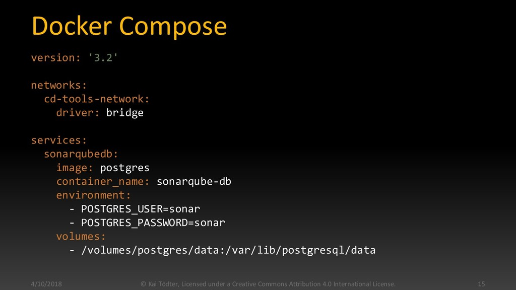Docker Compose version: '3.2' networks: cd-tool...