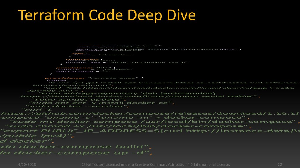 Terraform Code Deep Dive 4/10/2018 © Kai Tödter...