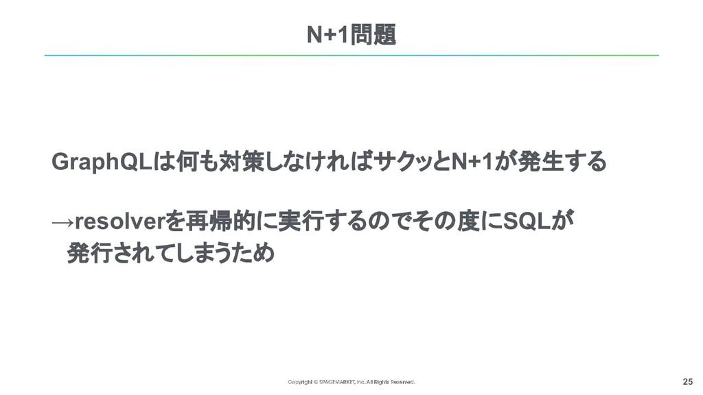 25 N+1問題 GraphQLは何も対策しなければサクッとN+1が発生する →resolve...