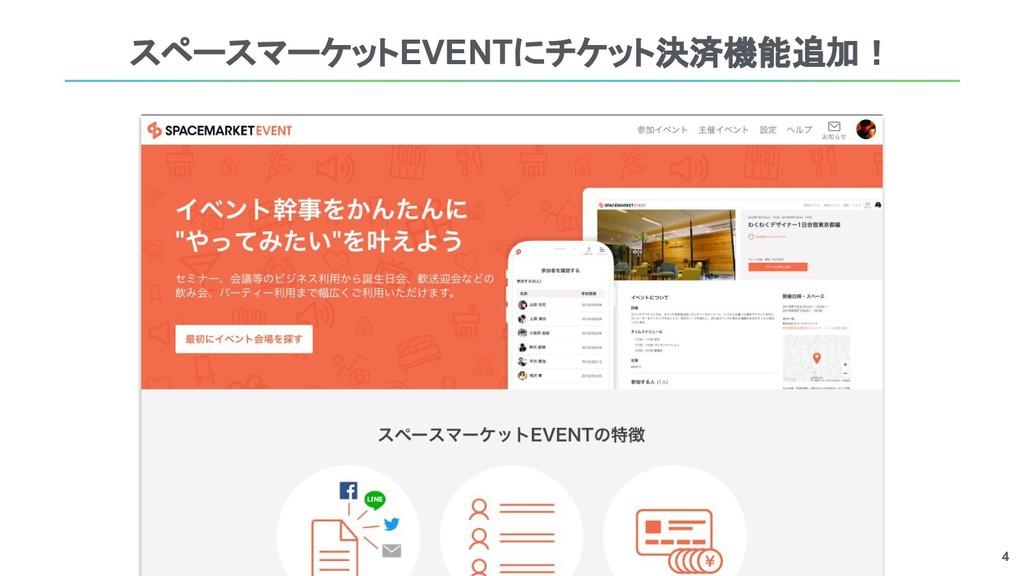 4 スペースマーケットEVENTにチケット決済機能追加!
