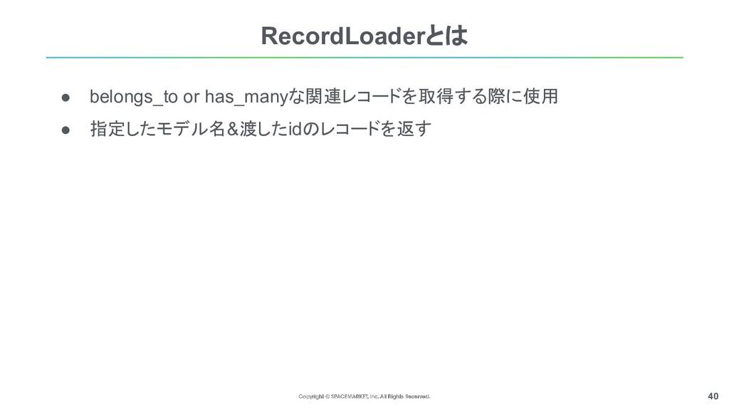 40 ● belongs_to or has_manyな関連レコードを取得する際に使用 ● 指...