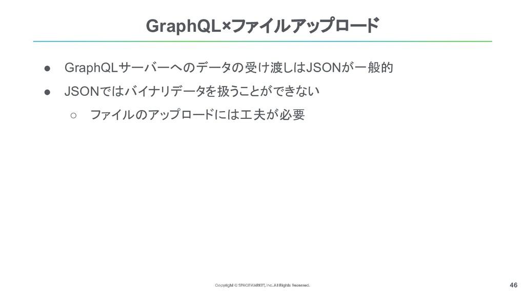 46 ● GraphQLサーバーへのデータの受け渡しはJSONが一般的 ● JSONではバイナ...