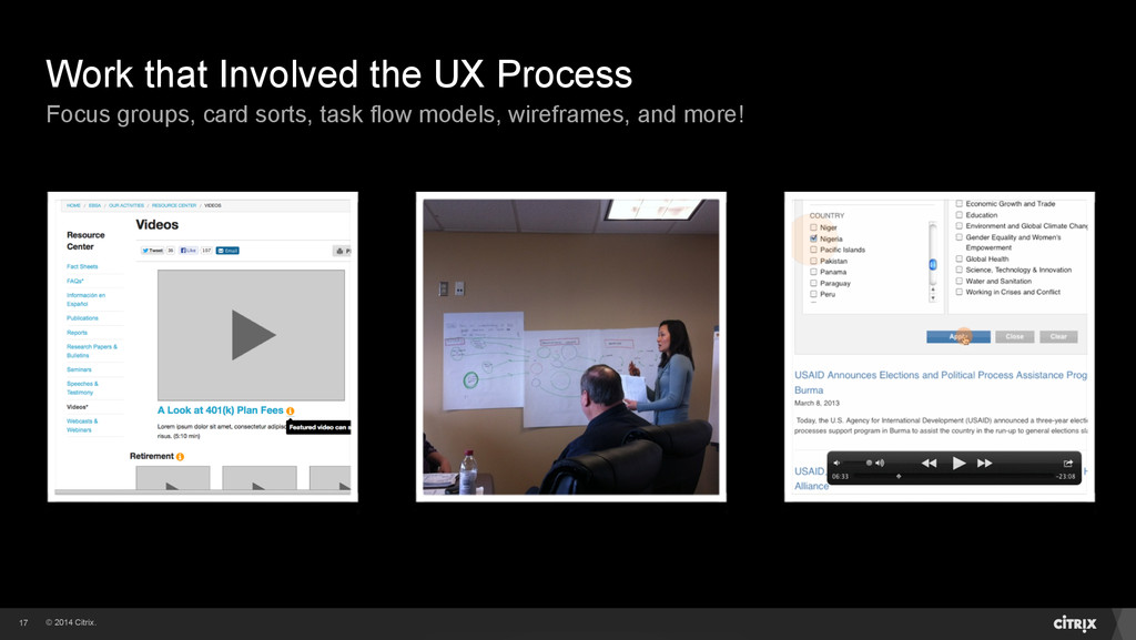 © 2014 Citrix. Work that Involved the UX Proces...