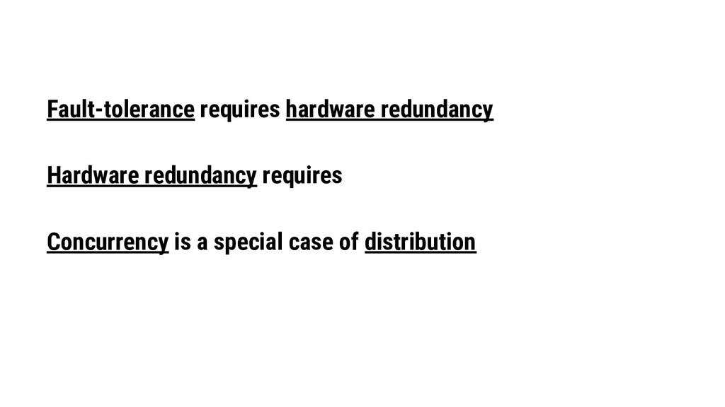 Fault-tolerance requires hardware redundancy Ha...