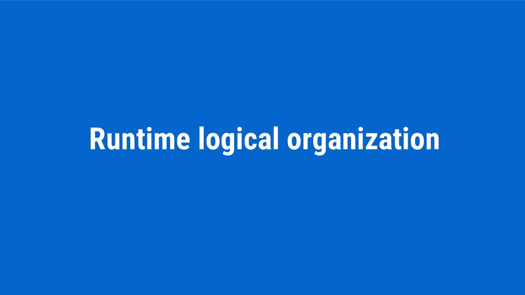 Runtime logical organization