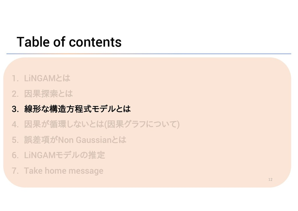 Table of contents 3. 線形な構造方程式モデルとは 12