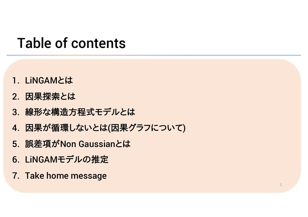 Table of contents 1. LiNGAMとは 2. 因果探索とは 3. 線形な構...