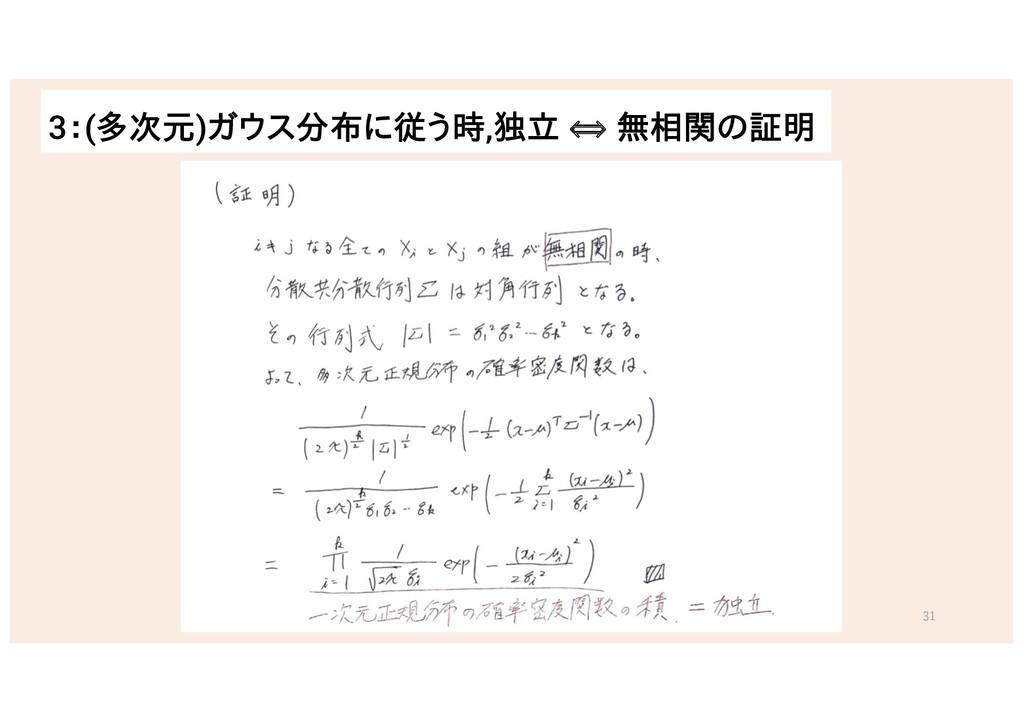 3:(多次元)ガウス分布に従う時,独立 ⟺ 無相関の証明 31