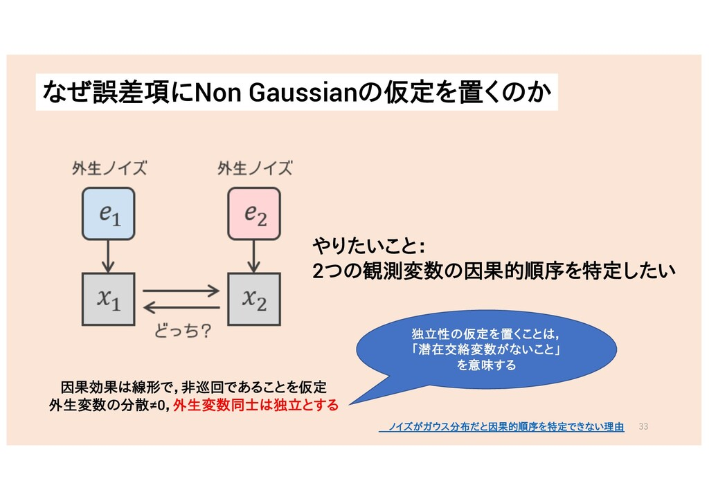 なぜ誤差項にNon Gaussianの仮定を置くのか やりたいこと: 2つの観測変数の因果的順...