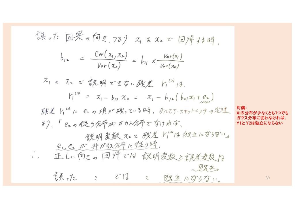 39 対偶: Xiの分布が少なくとも1つでも ガウス分布に従わなければ, Y1と Y2は独立に...