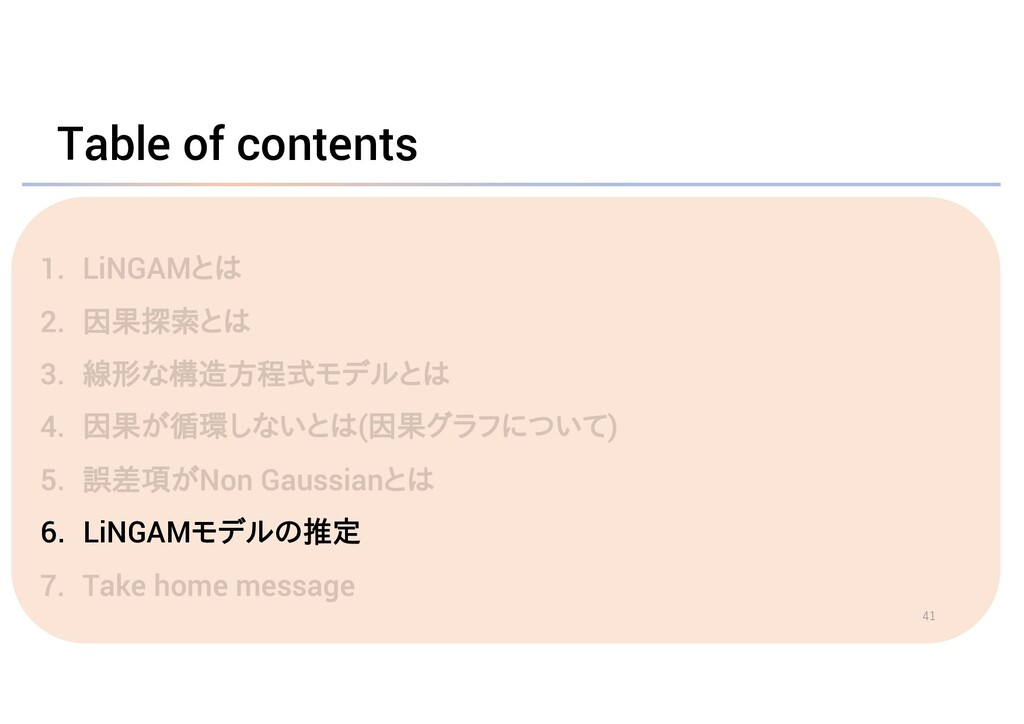 Table of contents 6. LiNGAMモデルの推定 41