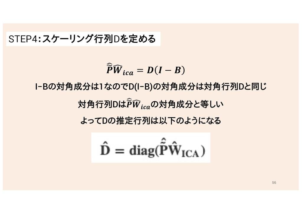 STEP4:スケーリング行列Dを定める 56 I−Bの対角成分は1なのでD(I−B)の対角成分...