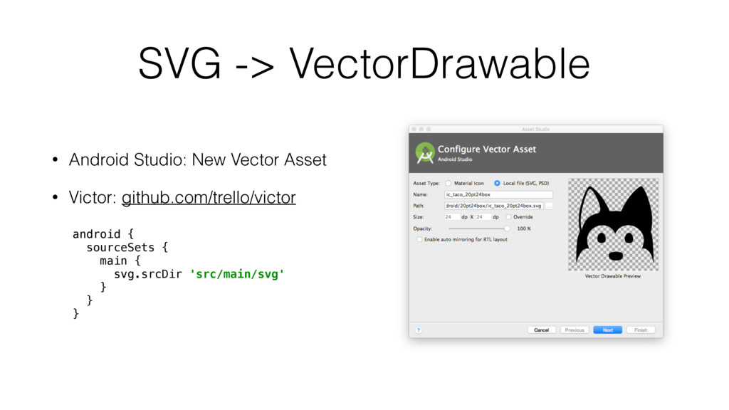 SVG -> VectorDrawable • Android Studio: New Vec...