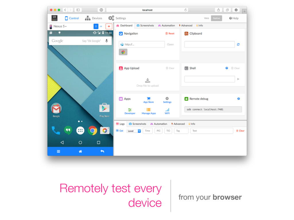 Remotely test every device from your browser