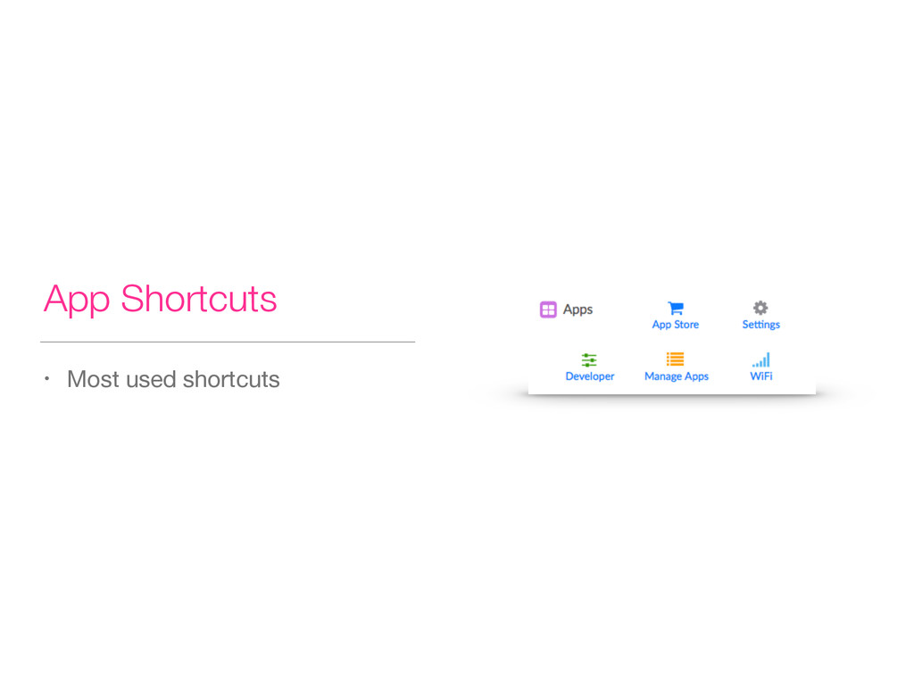 App Shortcuts • Most used shortcuts