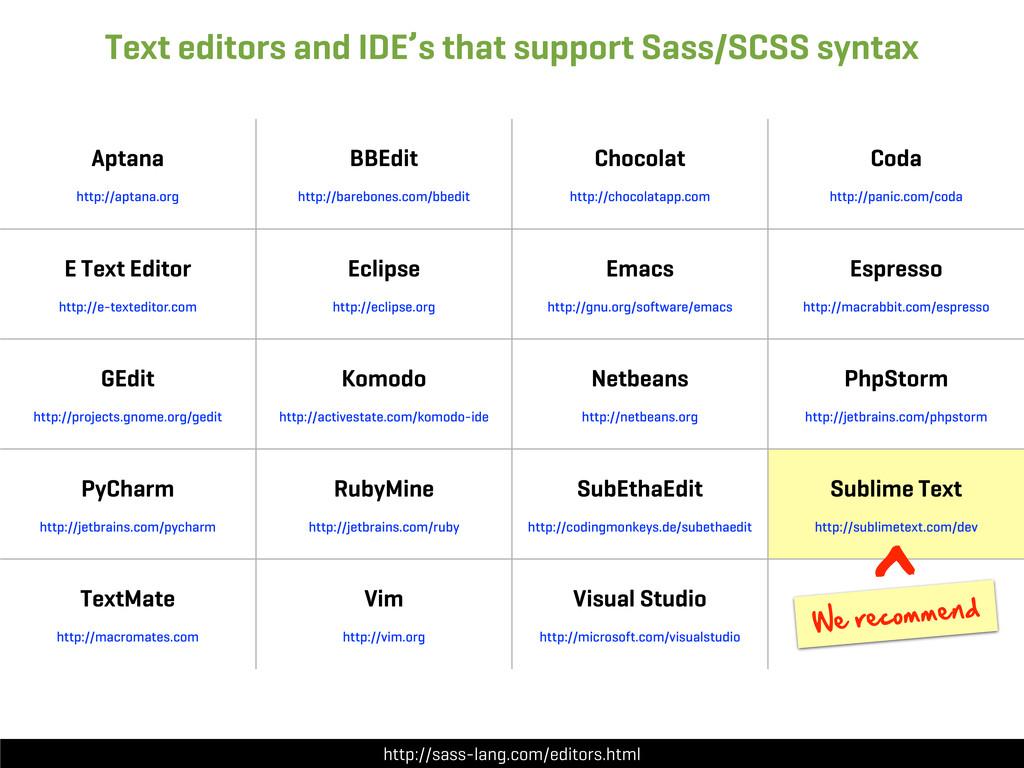 http://sass-lang.com/editors.html Text editors ...