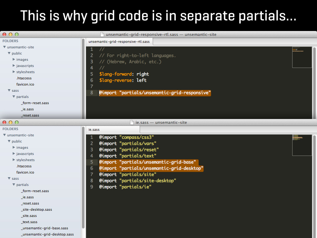 This is why grid code is in separate partials…