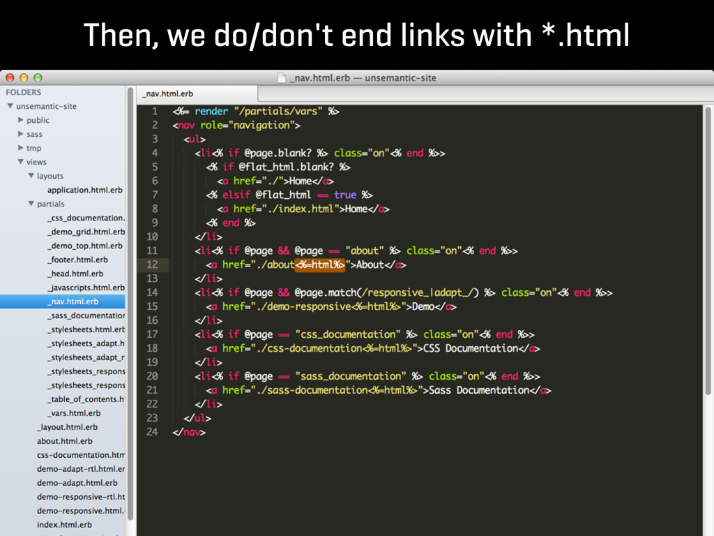 Then, we do/don't end links with *.html