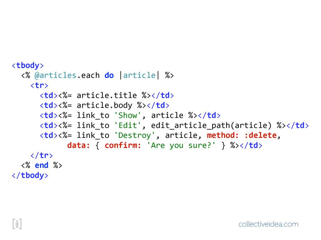 collectiveidea.com <tbody> !!<%!@articles.each...