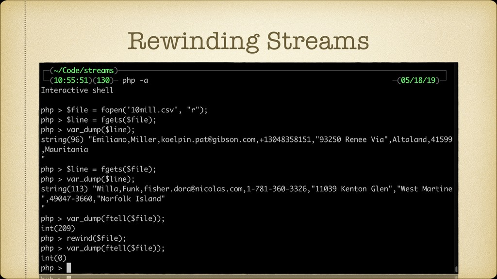 Rewinding Streams