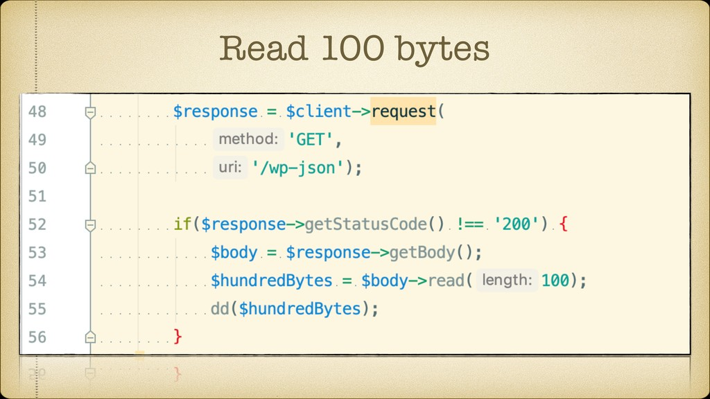 Read 100 bytes