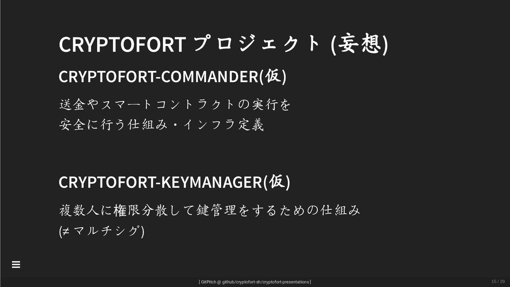 CRYPTOFORT プロジェクト (妄想) CRYPTOFORT-COMMANDER(仮) ...