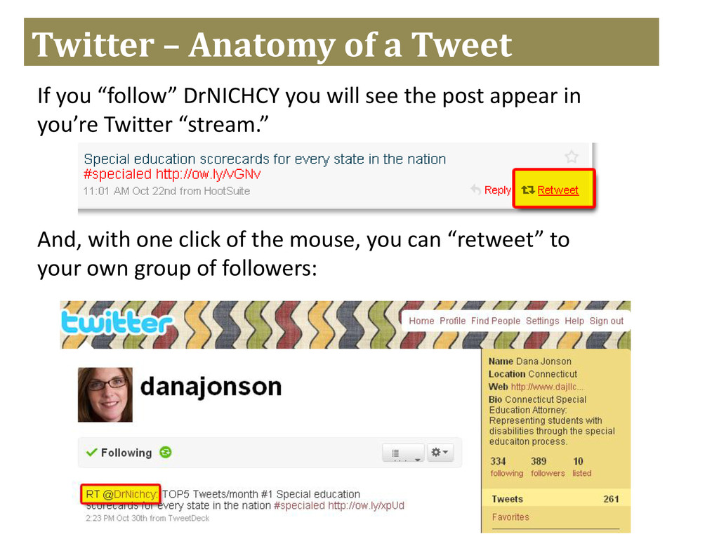 "Twitter – Anatomy of a Tweet If you ""follow"" Dr..."