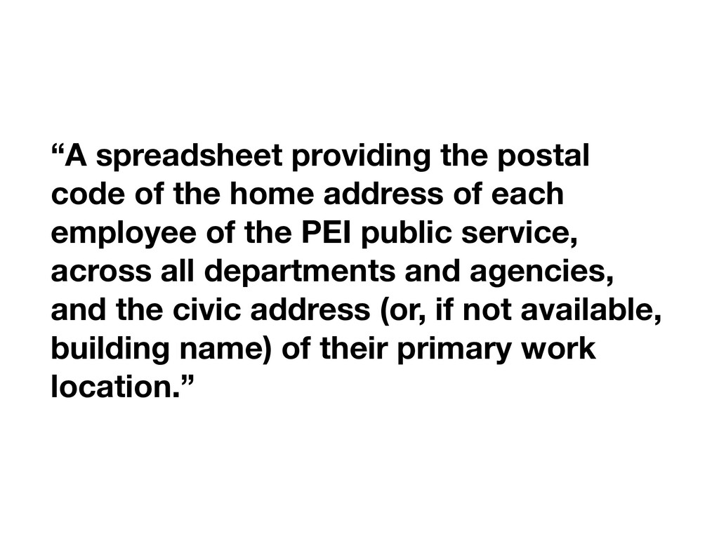 """""""A spreadsheet providing the postal code of the..."""
