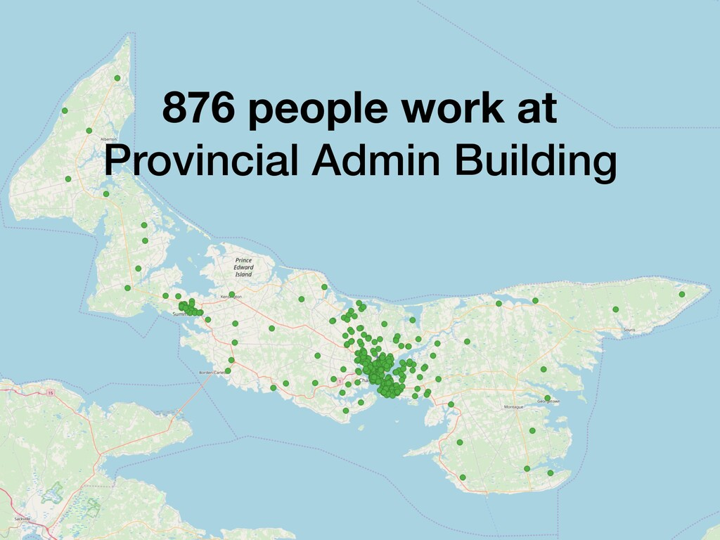 876 people work at Provincial Admin Building