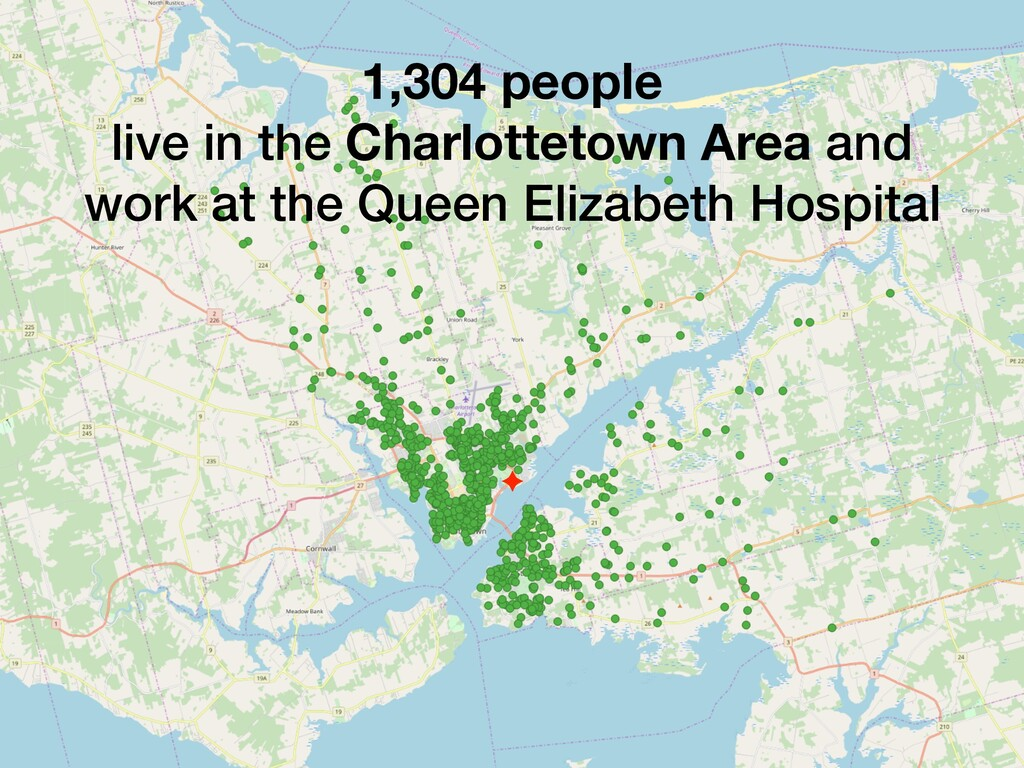 1,304 people live in the Charlottetown Area and...