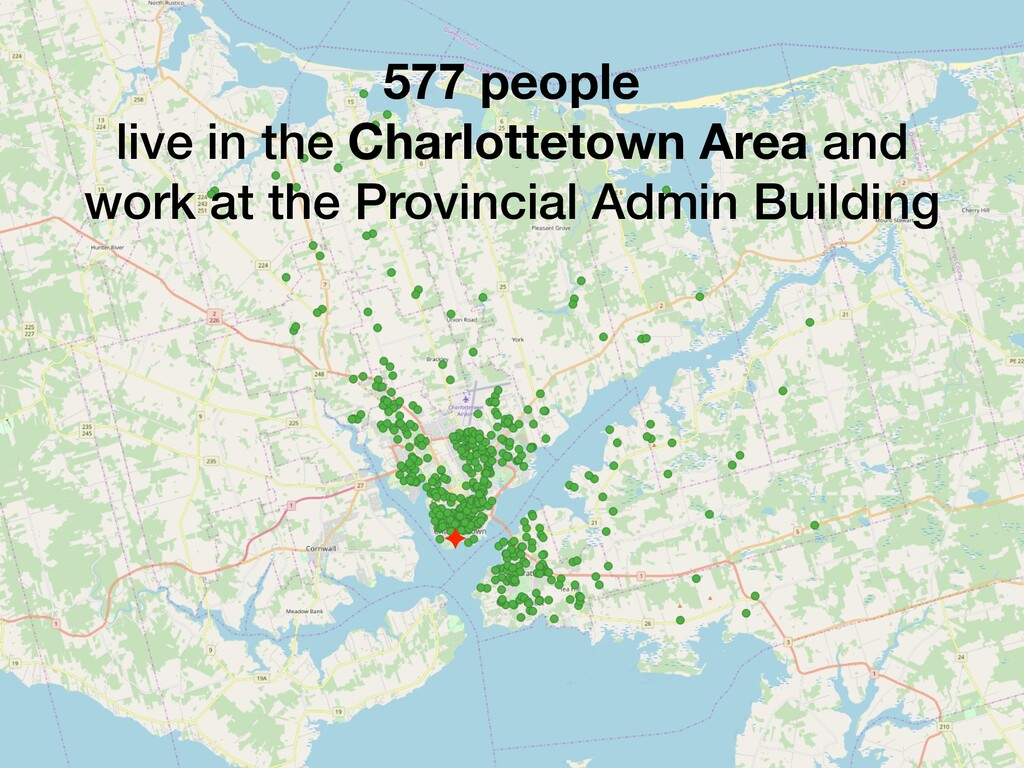 577 people live in the Charlottetown Area and w...