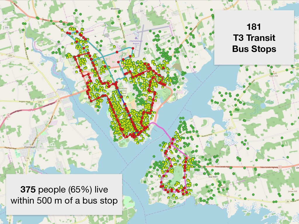 181 T3 Transit Bus Stops 375 people (65%) live ...