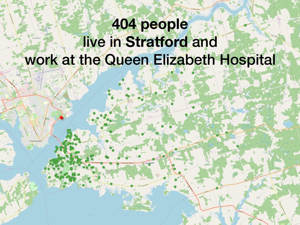 404 people live in Stratford and work at the Qu...
