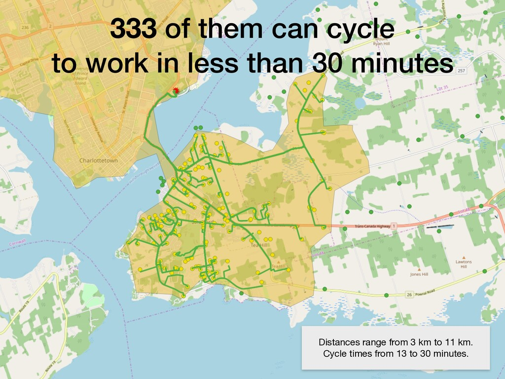 333 of them can cycle to work in less than 30 m...