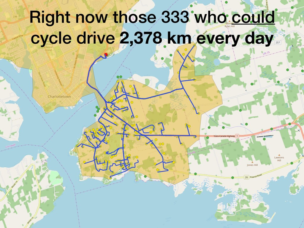 Right now those 333 who could cycle drive 2,378...