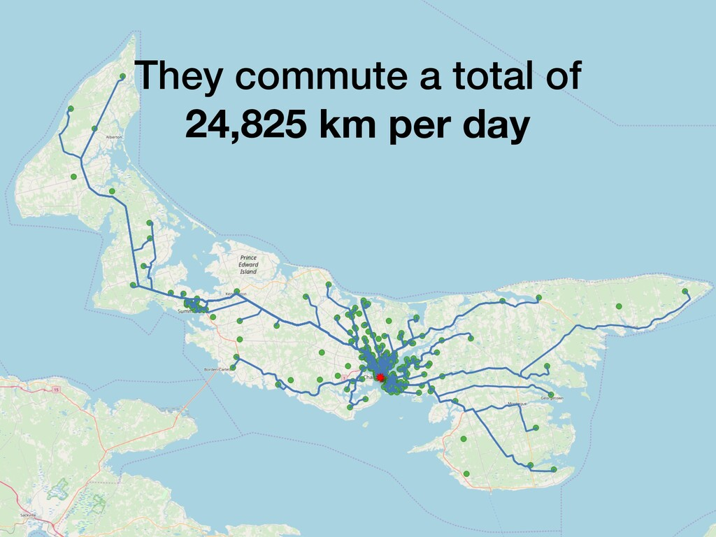 They commute a total of 24,825 km per day