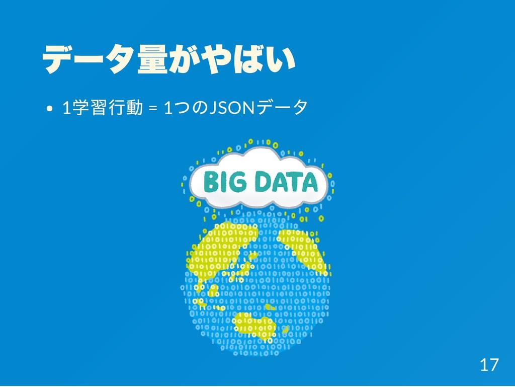 データ量がやばい 1 学習行動 = 1 つのJSON データ 17