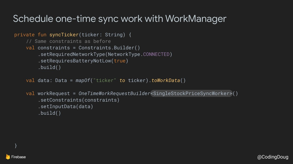 @CodingDoug Schedule one-time sync work with Wo...