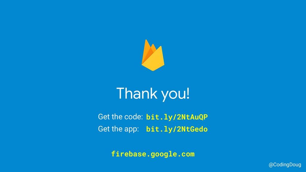 Thank you! @CodingDoug firebase.google.com Get ...
