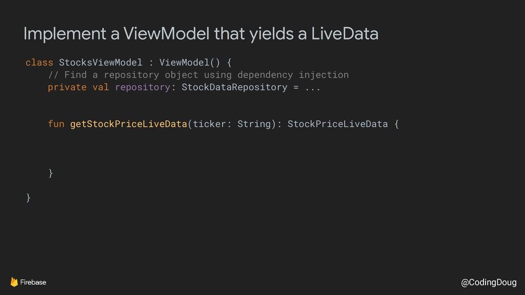 @CodingDoug Implement a ViewModel that yields a...