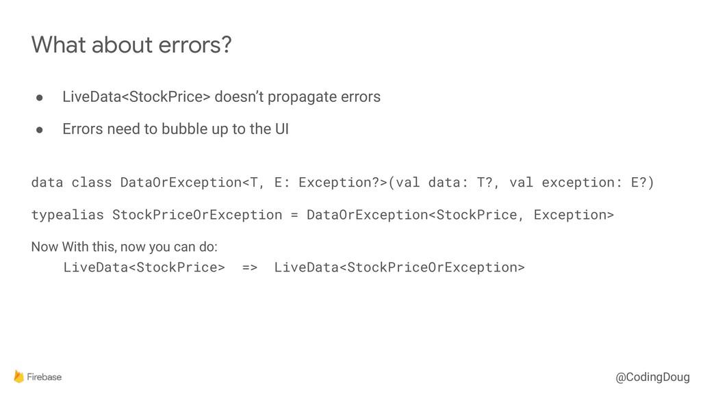 @CodingDoug ● LiveData<StockPrice> doesn't prop...